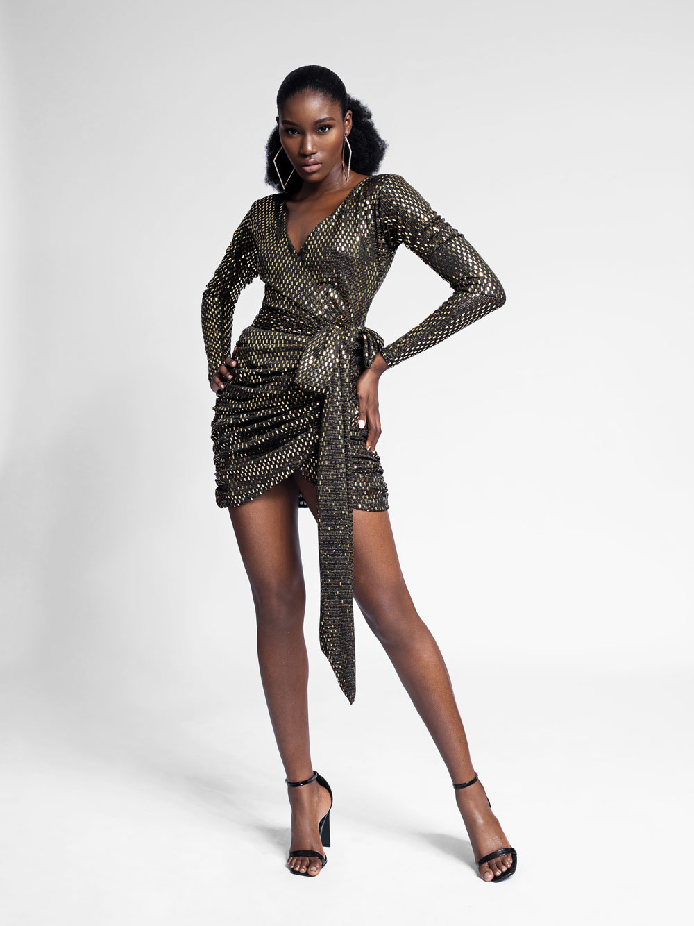 Oyin Ruffle Long Sleeve Wrap Dress