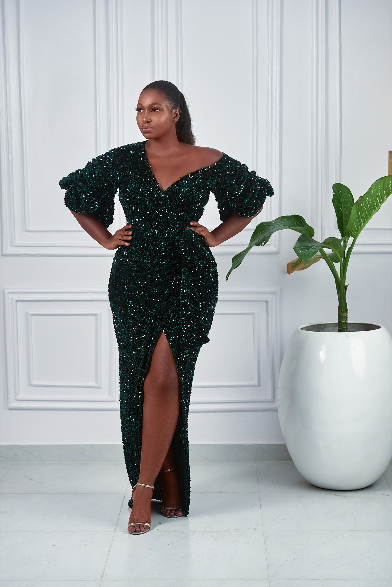 Jojo Off Shoulder Sleeve Sequins Classic Wrap dress